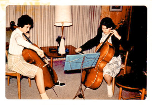 Teen-aged musical collaborators of another time, Deborah Ann Johnston and Barbara Lockwood (Johnston)